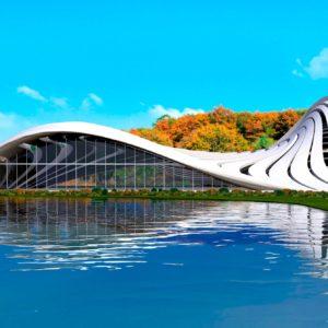 Cubierta de parque acuático como metáfora del agua