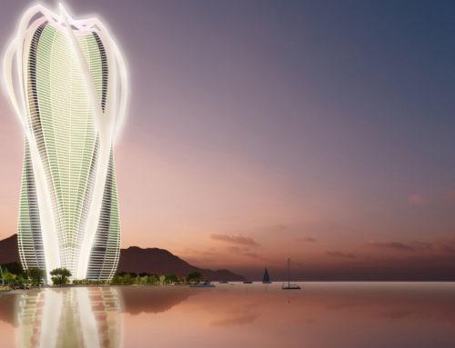 Un rascacielos sostenible de uso mixto junto al mar